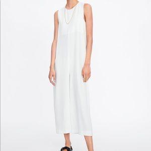Zara white flowy jumpsuit